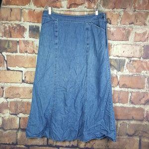 Pendelton Long Jean Skirt Size 14 Pockets Denim